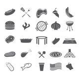 diseño plano fijado iconos rápidos de la red alimentaria Imágenes de archivo libres de regalías