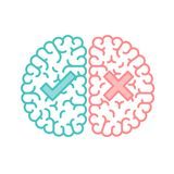 Diseño plano izquierdo y derecho del cerebro, correcto e incorrecto del concepto del esquema del movimiento con el ejemplo del sí libre illustration