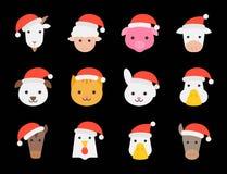 Diseño plano lindo del sombrero de santa de la Navidad del animal del campo que lleva libre illustration