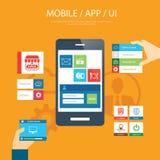 Diseño plano móvil del elemento del app y del ui stock de ilustración