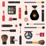Diseño plano Modelo inconsútil cosmético Fondo de los cosméticos Imagenes de archivo