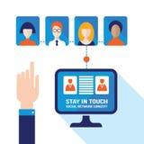 Diseño plano moderno social de los iconos del ordenador y del usuario del comercio electrónico de la red Imagen de archivo libre de regalías