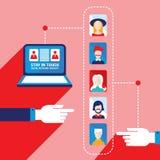 Diseño plano moderno social de los iconos del ordenador y del usuario del comercio electrónico de la red Imagenes de archivo
