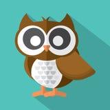 Diseño plano Owl Icon On Green Background lindo Fotos de archivo libres de regalías