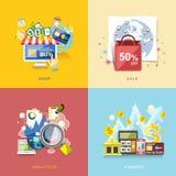 Diseño plano para el comercio electrónico, compras en línea, venta, finanzas, anales Foto de archivo