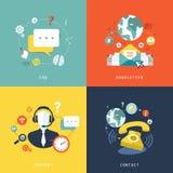 Diseño plano para el concepto del servicio de atención al cliente Imágenes de archivo libres de regalías