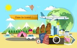 Diseño plano para el viaje en todo el mundo Foto de archivo libre de regalías