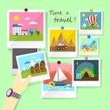 Diseño plano para las fotos de viajar Foto de archivo