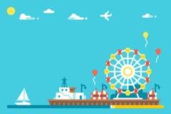 Diseño plano Santa Monica Pier libre illustration