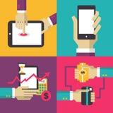 Diseño plano Sistema del concepto del negocio con las manos Fotos de archivo libres de regalías