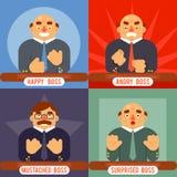 Diseño plano sorprendido feliz de Boss Emotions Set Character del bigote del símbolo del negocio del icono del concepto adulto en Fotos de archivo