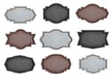 Diseño plateado de metal de la muestra con el fondo de la textura del modelo del diamante Fotografía de archivo libre de regalías