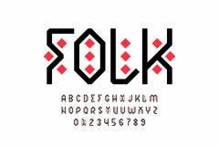 Diseño popular de la fuente del estilo, alfabeto tribal fotografía de archivo