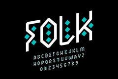 Diseño popular de la fuente del estilo, alfabeto tribal foto de archivo