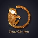 Diseño 2016, postal del mono del brillo del oro del símbolo del Año Nuevo, tarjeta de felicitación, bandera stock de ilustración