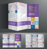 Diseño profesional del folleto del negocio del gráfico de vector para su compañía en color azul Imágenes de archivo libres de regalías