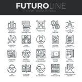 Diseño que piensa la línea iconos de Futuro fijados ilustración del vector