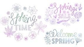 Diseño que pone letras retro exhausto de la mano de la primavera con los elementos decorativos florales stock de ilustración