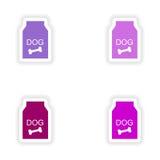 Diseño realista de la etiqueta engomada de la asamblea en el perro de papel libre illustration