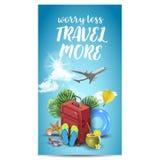 Diseño realista de las vacaciones de verano para el viaje con los artículos del verano Cita del viaje divisa Ilustración del vect Imagen de archivo