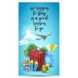 Diseño realista de las vacaciones de verano para el viaje con los artículos del verano Cita del viaje divisa Ilustración del vect Foto de archivo libre de regalías