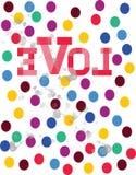 Diseño redondo colorido de la camiseta del amor Imagenes de archivo