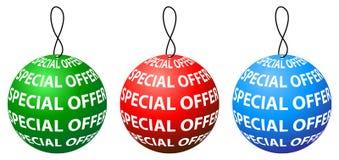 Diseño redondo de la etiqueta de la oferta especial con tres colores Imágenes de archivo libres de regalías