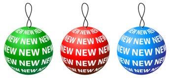 Diseño redondo de la nueva etiqueta con tres colores Imagenes de archivo