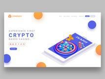 Diseño responsivo de la página del aterrizaje con el juego basado crypto app del casino ilustración del vector