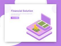 Diseño responsivo de la plantilla del web, monedas isométricas con la cartera f ilustración del vector