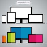 Diseño responsivo en dispositivos electrónicos Fotos de archivo