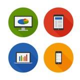 Diseño responsivo. Iconos planos fijados. Vector Imagen de archivo