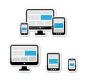 Diseño responsivo para el Web - pantalla de ordenador, smartphone, conjunto de escrituras de la etiqueta de la tablilla