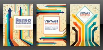 Diseño retro abstracto de la cubierta con los elementos de las flechas Fotografía de archivo libre de regalías