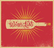 Diseño retro caligráfico de la carta de vinos del estilo del grunge Ilustración del vector Foto de archivo libre de regalías