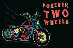 Diseño retro colorido aislado de la motocicleta en el estilo de neón en el fondo oscuro, para siempre ejemplo del vector de dos r ilustración del vector