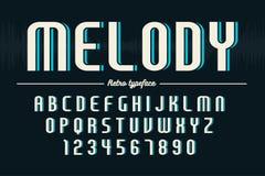 Diseño retro de la fuente de la exhibición, alfabeto, juego de caracteres, tipografía Foto de archivo libre de regalías