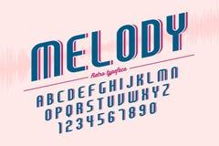 Diseño retro de la fuente de la exhibición, alfabeto, juego de caracteres, tipografía Fotografía de archivo libre de regalías