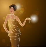 Diseño retro de la invitación del partido con la muchacha Vector Imagen de archivo