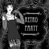 Diseño retro de la invitación del partido en estilo de los años 20 stock de ilustración