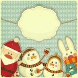 Diseño retro de tarjeta de la Navidad y del Año Nuevo Foto de archivo
