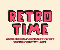 Diseño retro del alfabeto 3D Letras del vector, números y signos de puntuación stock de ilustración