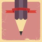 Diseño retro del cartel con el lápiz. Vector Imagenes de archivo