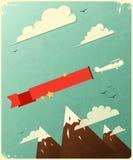 Diseño retro del cartel con las nubes. Fotos de archivo