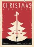Diseño retro del cartel del concierto de la Navidad stock de ilustración