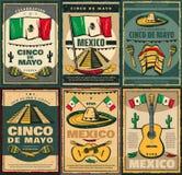 Diseño retro del cartel de Cinco de Mayo y de Viva Mexico