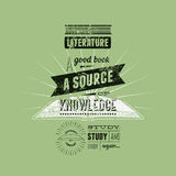 Diseño retro del cartel de la librería de la tipografía Ilustración del vector Fotos de archivo libres de regalías