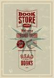 Diseño retro del cartel de la librería de la tipografía Ilustración del vector Foto de archivo