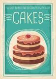 Diseño retro del cartel de las tortas y de los dulces libre illustration