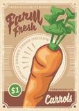 Diseño retro del cartel de las zanahorias stock de ilustración
